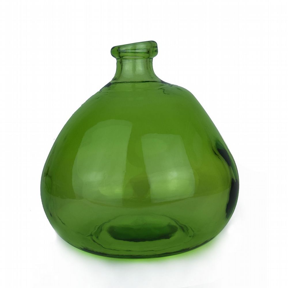 Recycled Glass Balloon Vase - 23cm - Green